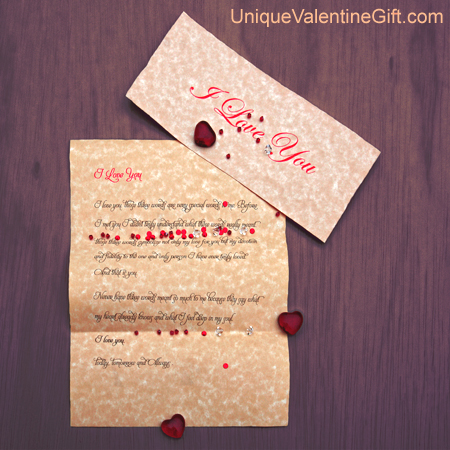 Purchase your I Love You Letter online at uniquevalentinegift.com