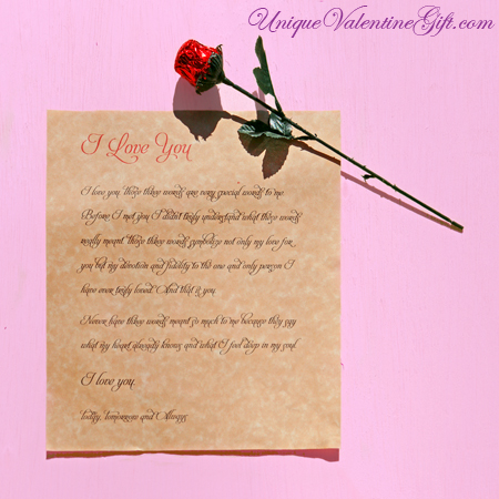 Purchase your Love Letter & Chocolate Rose online at uniquevalentinegift.com - Have a Special Valentine's Day