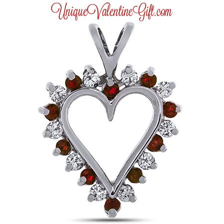 Diamond and Ruby Prong Set Heart Pendant