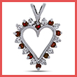 Diamond and Ruby Prong Set Heart Pendant